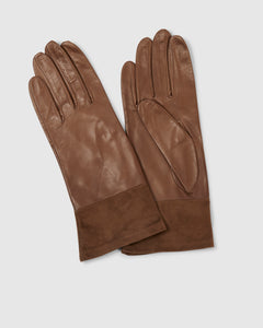 Kate and Confusion brown suede and leather womens' gloves