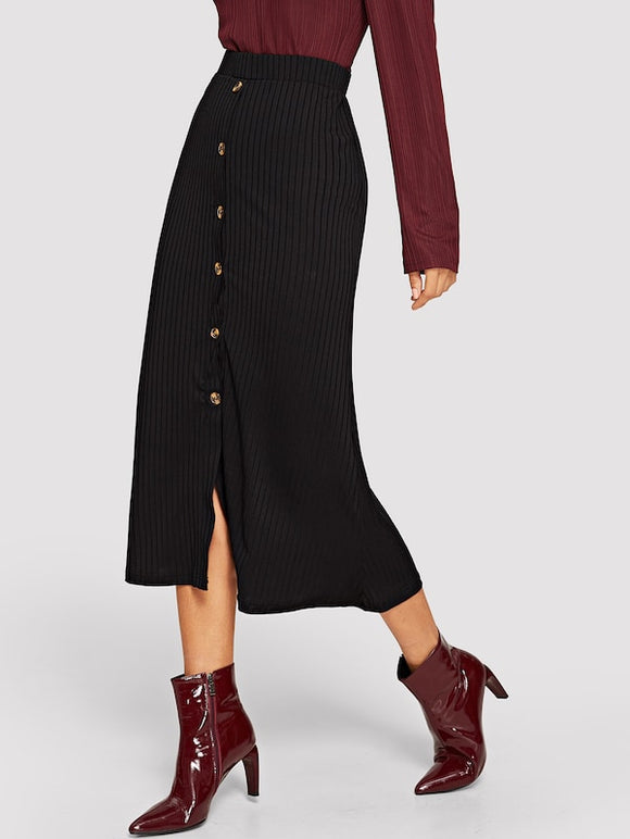 Button Ribbed Skirt