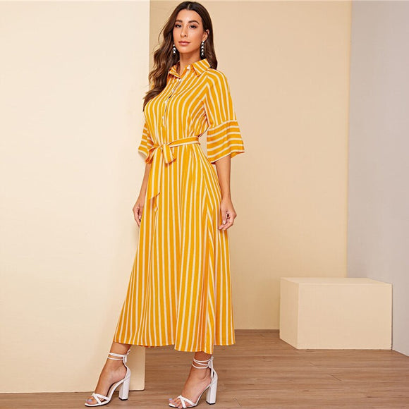 Yellow Stripe Shirt Dress