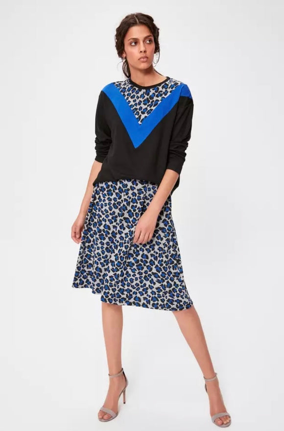 Blue Leopard Skirt