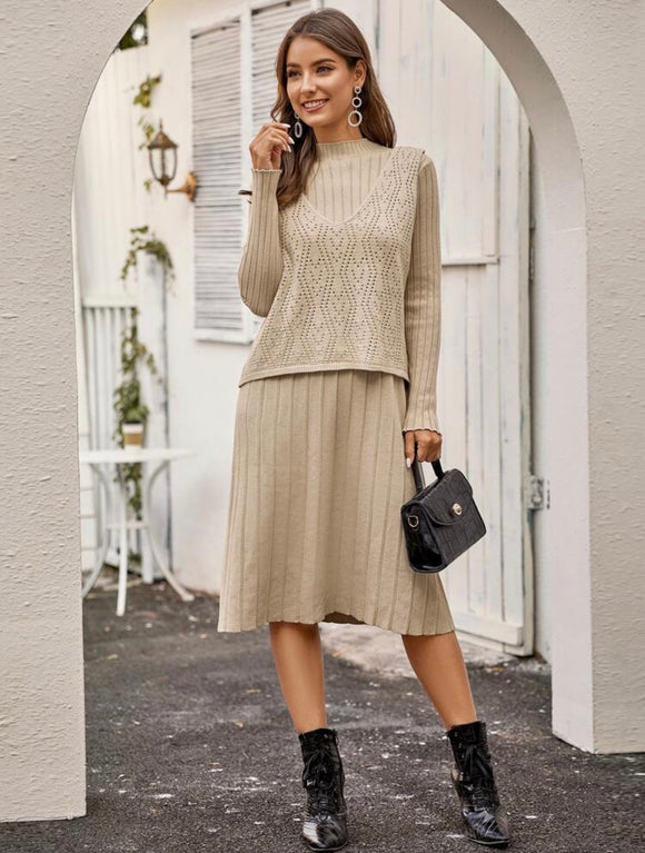 Eyelet Ribbed Sweater Dress Set