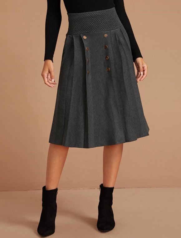 Double Button Knit Skirt