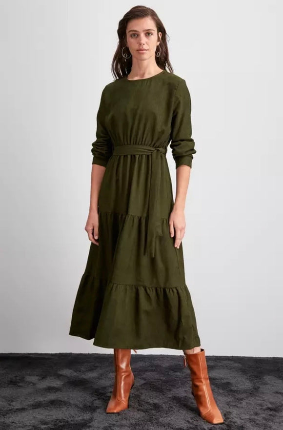 Corduroy Tiered Dress