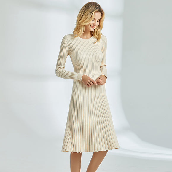 Cream Knit Sweater Dress