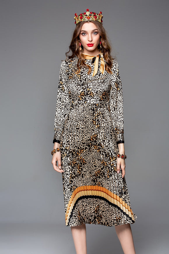 Leopard Pleat Dress