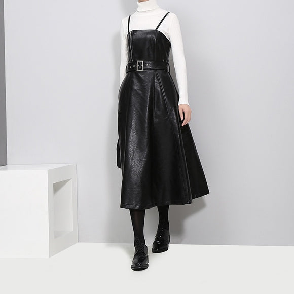 Strapless Leather Belted Dress