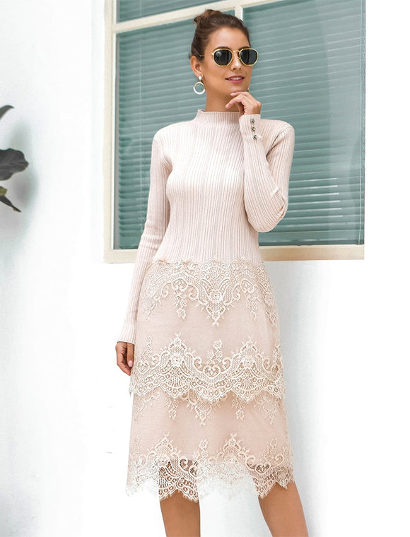 Lace Knit Sweater Dress