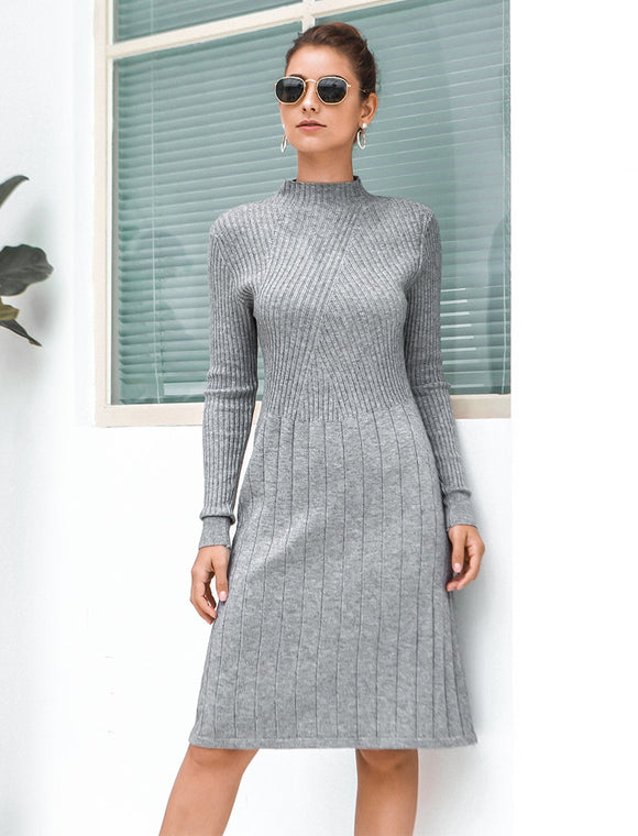 Mixed Ribbed Sweater Dress