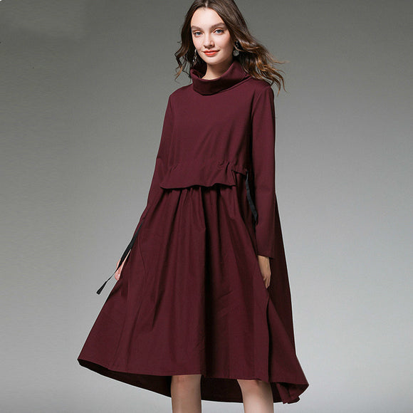 Drawstring Turtleneck Dress