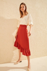 Satin Ruffle Skirt