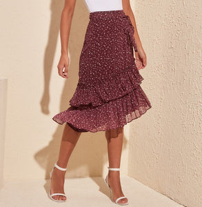 Asymmetric Floral Skirt