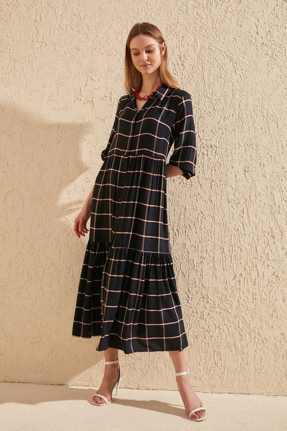 Pleated Plaid Shirt Dress