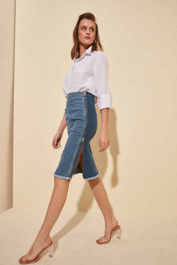 Split Side Zipper Denim Skirt