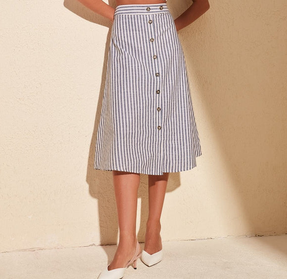 Stripe Button Detail Skirt