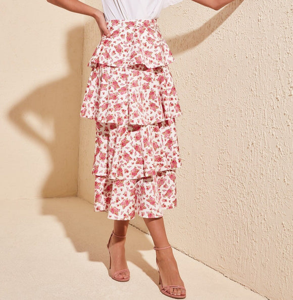 Tiered Floral Print Skirt