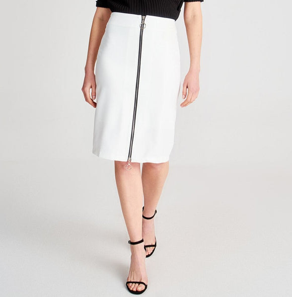White Zipper Detail Skirt