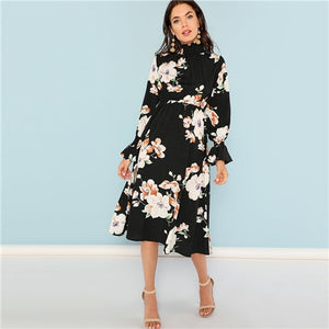 Ruffle Neck Floral Dress