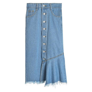 Half Ruffle Denim Skirt