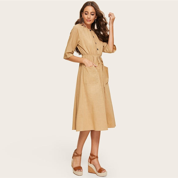 Khaki Drawstring Dress