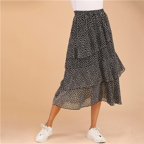 Tiered Ruffle Dot Skirt