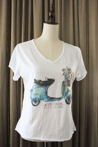 Dames Retro T Shirt met blauwe Vespa scooter