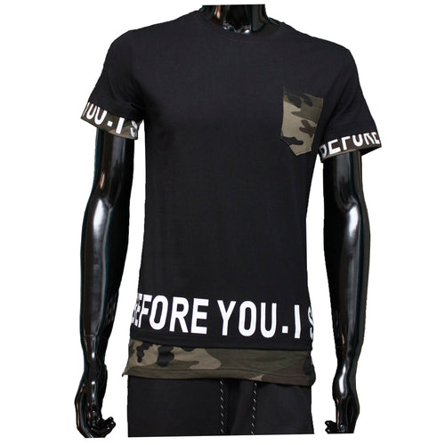 Tshirt camouflage Zwart before you is