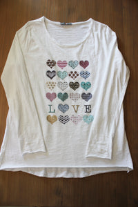 Dames T shirt Vol met Hartjes En Strass