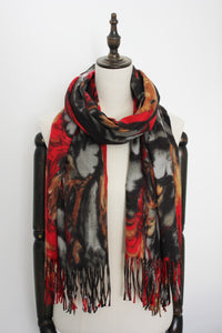 Dikke Cashmere Wintersjaal Abstract Motief Golven