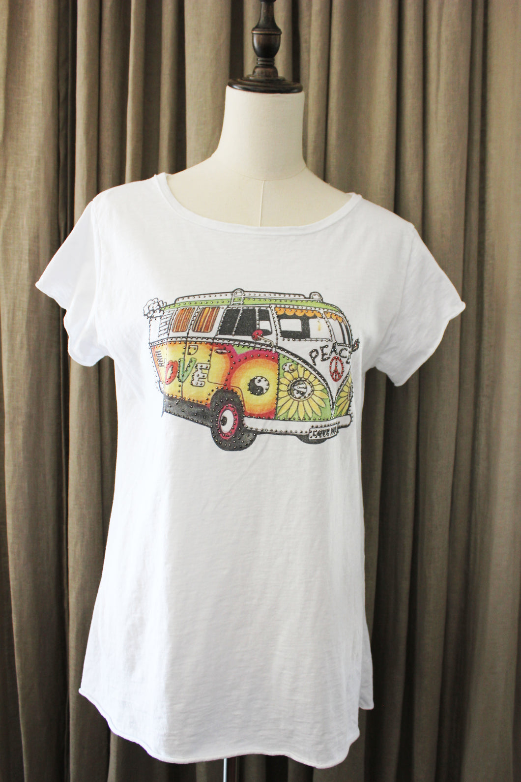 T Shirt love bus volkswagen california met strass