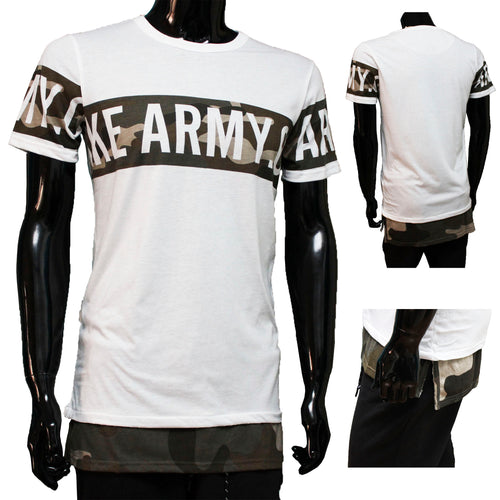 Army Tshirt wit met camouflage