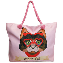 Afbeelding in Gallery-weergave laden, Hipster Kat Strandtas Shopper Rose Pink