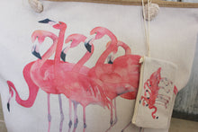 Afbeelding in Gallery-weergave laden, Canvas shopper met flamingo