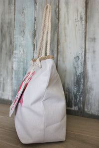 Canvas shopper met flamingo