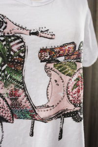 Retro T Shirt met flower power Vespa Rose