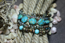 Afbeelding in Gallery-weergave laden, Wikkelarmband Turquoise Hout Glas Bohemian