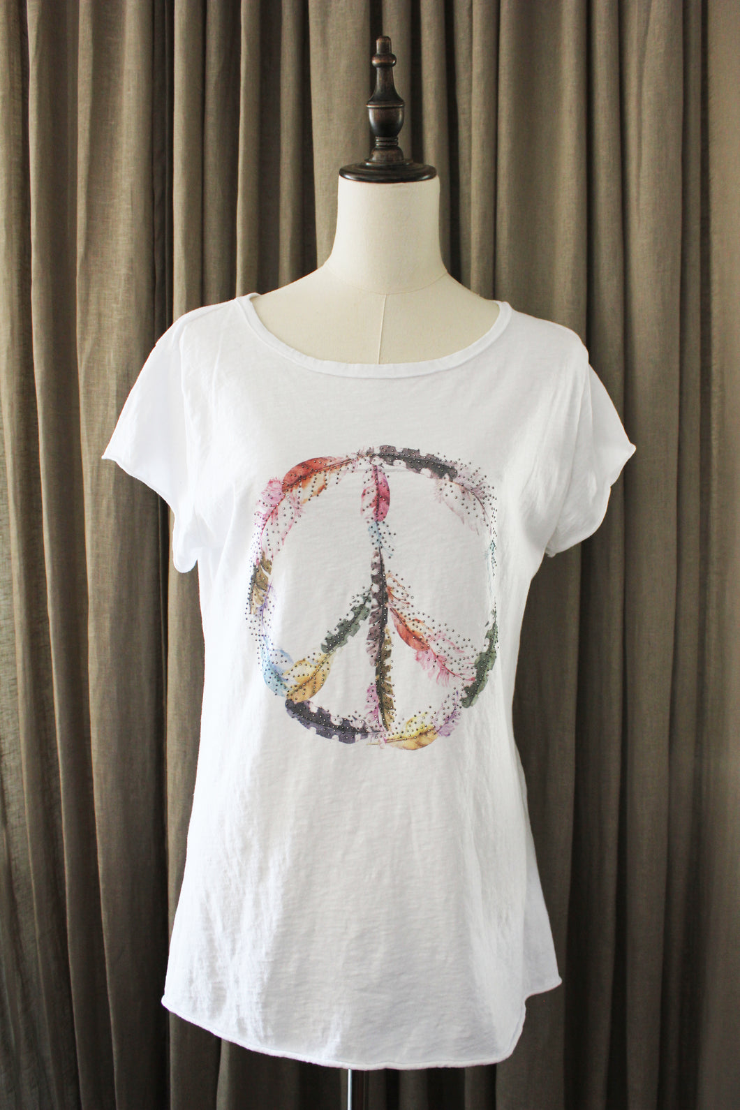 T Shirt Met Veren Peace and love hippy symbool