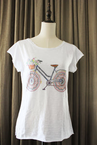 Dames T shirt met Rose fiets in strass