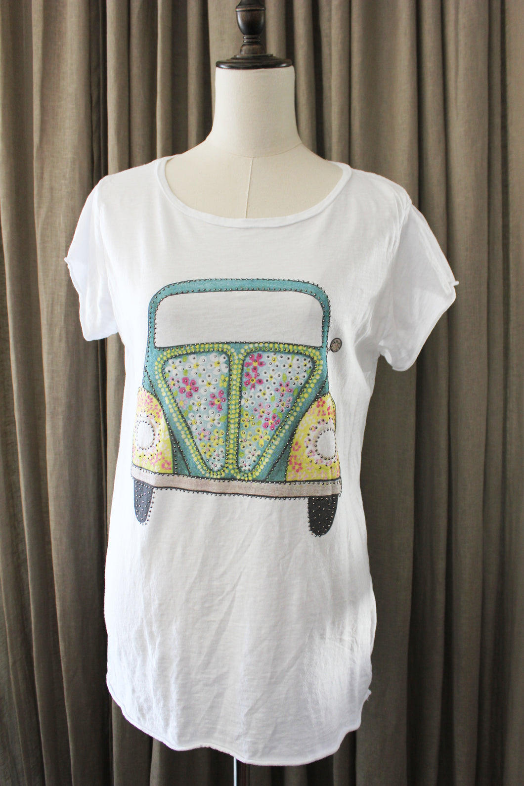 Strass T Shirt pease and love Volkswagen auto