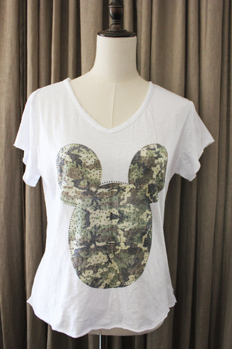 Strass T shirt met camouflage micky mouse motief