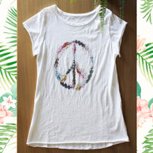 Afbeelding in Gallery-weergave laden, T Shirt Met Veren Peace and love hippy symbool