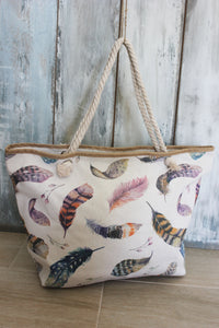 Shopper met aquarel veren print