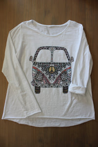 T shirt Hemd Retro Vintage Hippy Bus Pease And Love