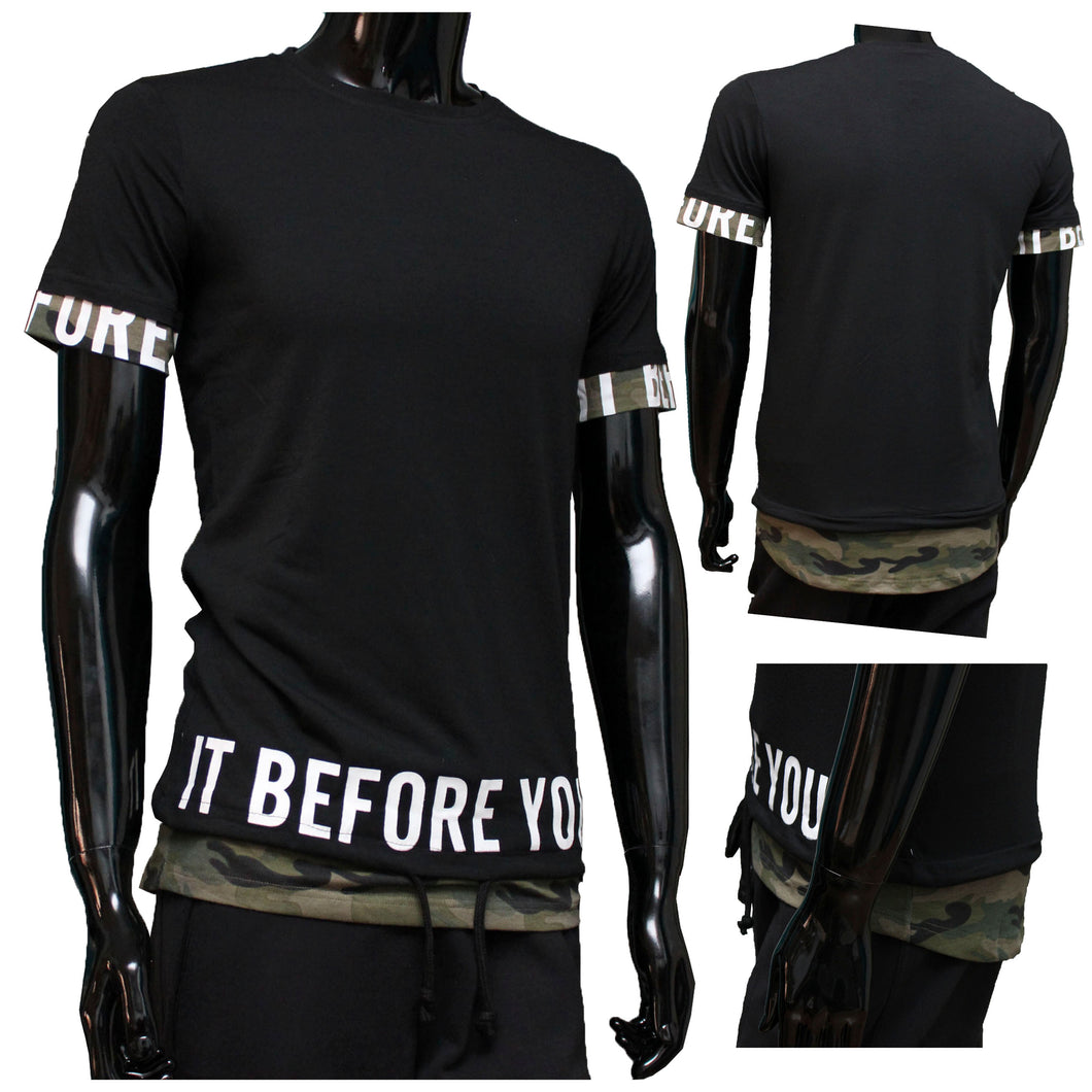 Tshirt camouflage Zwart before you