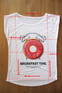Dames T shirt met Donuts print Breakfast