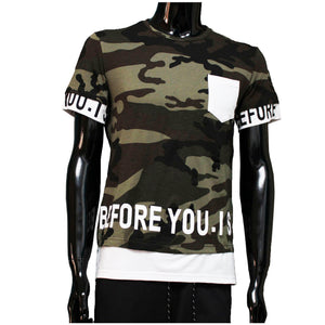 Tshirt camouflage Wit before you is