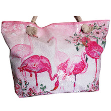 Afbeelding in Gallery-weergave laden, Flamingo Strand Tas Met Pailletten en koord Rose