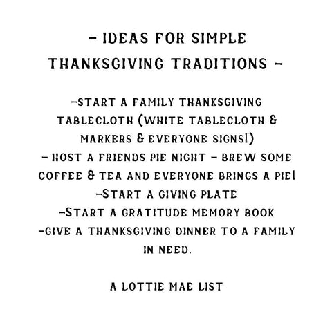 Ideas for Simple Thanksgiving Traditions