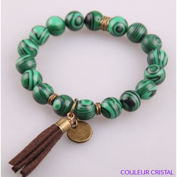 Bracelet en Malachite avec breloque Bronze Antique