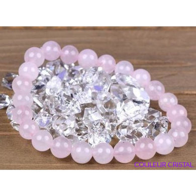 Bracelet en Quartz Rose Naturel