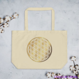 Grand tote bag bio imprimé Fleur de Vie Or - Beige